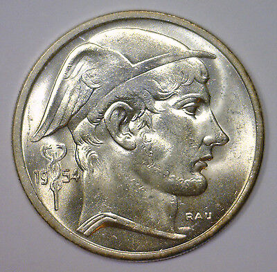 1954 Silver 50 Francs BELGIUM Scarce Date KM #136.1 ~ BU Brilliant Uncirculated