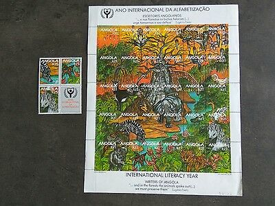 Stamp Angola 1990 International Literacy Year Wildlife Forest Full Sheet Mnh