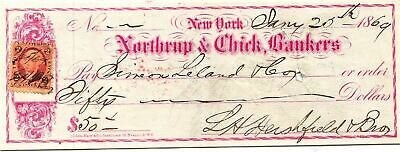 1869 $50 New York NORTHRUP & CHICK, BANKERS  Old Check Orange 2 Cent IRS Stamp