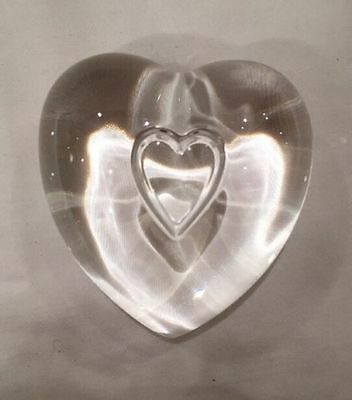 STEUBEN Glass Clear Crystal Heart To Heart Paperweight Exc Con