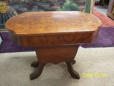 antique sewing box supply compartments inlayed burlwood burl wood scroll lid
