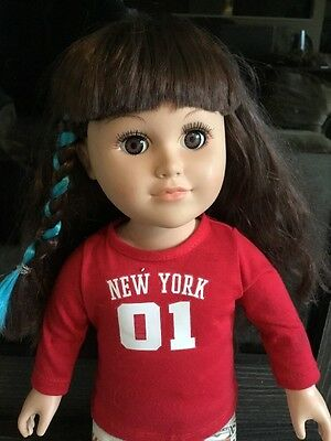 18' BROWN EYED, BROWN HAIR, GIRL DOLL, SLEEP EYES - CITITOY 2013 New York Outfit