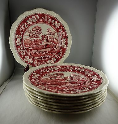 8 Spode China Pink Tower Dinner Plates Contemporary Globe Backstamp