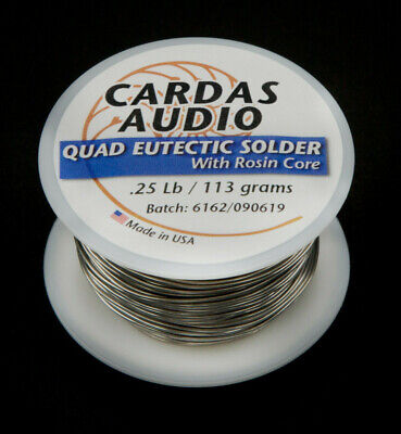 CARDAS Quad Eutectic Silver Solder with Rosin Flux - 1/4 lbs 110g  - 92ft (28M)