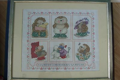 Completed cross stitch country companions sampler scene
