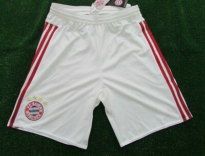 adidas Bayern Munich Boys Home Football Shorts White & Red BNWT XL Boys