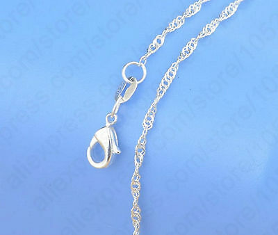 """1mm 925 Stamped Sterling Silver Water Wave snake Chain necklace pendant 16-30"""" T"""