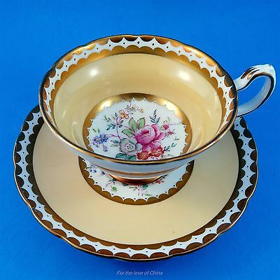 Peach Border with Handpainted Floral Center Grosvenor Tea Cup and Saucer Set