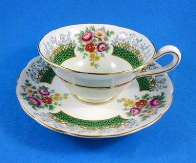 Floral and Green Basket Weave Border Chatsworth Grosvenor Tea Cup and Saucer Set