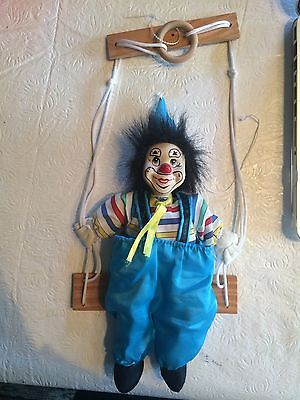 Marionette Vintage Clown String Puppet Doll On A Swing