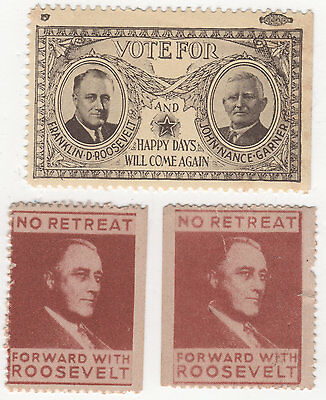 Vote For Franklin D. Roosevelt & Garner & Happy Days Will Come Again +  2 Stamps