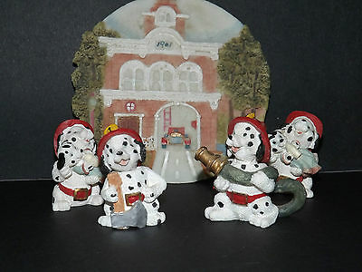 Dalmatian Fire-fighter Figurines with Fire-house Plate