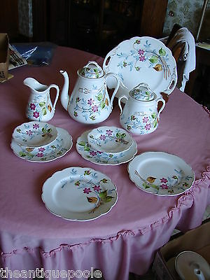 Antique Hand Painted Floral Porcelain Dessert Set Coffee Pot Plates Sugar Cream