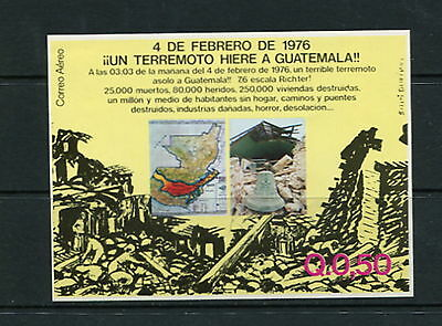 Guatemala  1976  #MB17  earthquake  maps  IMPERF  sheet  MNH  F723