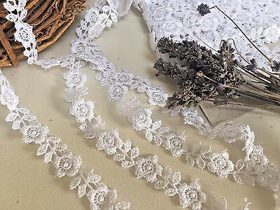 """12mm/1/2"""" Narrow White Pretty Flower Guipure Lace Trim *FREE 1ST CLASS POSTAGE*"""