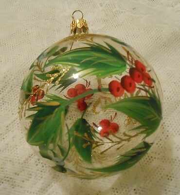 "Xmas Clear Blown Glass Ball w/Hand Painted Holly & ""Merry Xmas 2006"" Inscription"