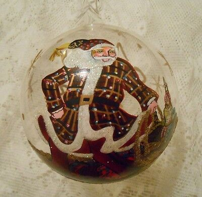 "Xmas Blown Glass Ball w/Hand painted Santa & ""Merry Xmas 2006"" Inscription"