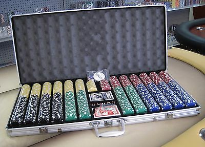 1000 Chips Poker Dice Chip Set W/ Dice Decks Dealer Kit & Silver Case Keys *