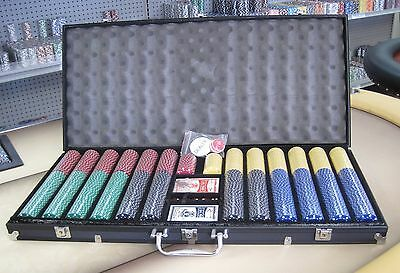 1000 Chips Poker Suited Chip Set W/ Dice Decks Dealer Kit & Silver Case Keys *