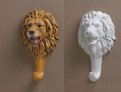 Sculpted Lion Head-Bust Figural Wall Hook 2 Designs Mixed 6 Lot NIB