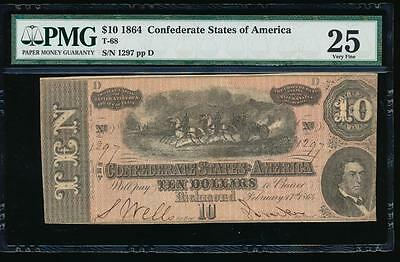 AC T-68 $10 1864 Confederate Currency CSA PMG 25