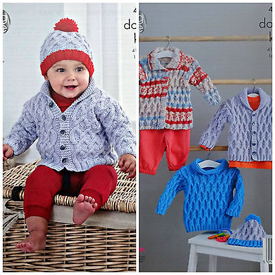 KNITTING PATTERN Baby Cable Jacket Coat Jumper & Hat King Cole DK King Cole 4807