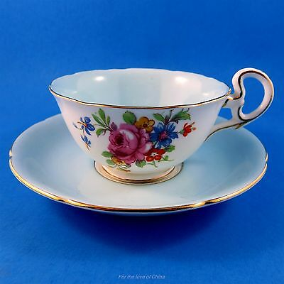 Light Blue and Floral Bouquet Royal Grafton Tea Cup and Saucer Set