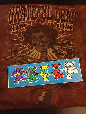 Grateful Dead Head Skulls & Roses Tour T Shirt Dancing Bear Sticker Gerry Garcia