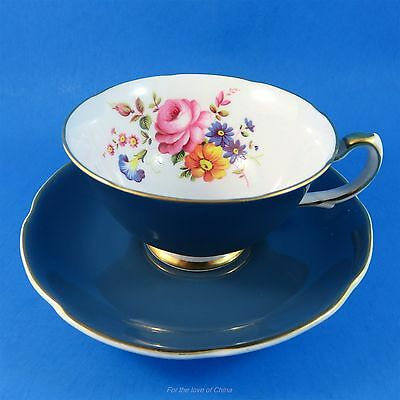 Pretty Deep Teal Blue & Floral Royal Grafton Tea Cup and Saucer Set