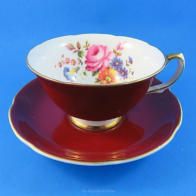 Deep Red Burgundy and Floral Bouquet Royal Grafton Tea Cup and Saucer Set