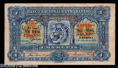 "Portuguese India P23A ""blue Tiger"" 1 Rupia 1924 Raw Vf!"" Very Rare!"
