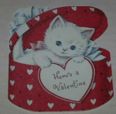 """Reproduction """"Here's A Valentine"""" Cat Hat Box Theme Valentine Card Unused"""