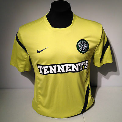 quality design 3cf04 1fa87 CELTIC FC FOOTBALL Club Soccer Lime Green Tennent's Nike Dri Fit Jersey Kit  Med