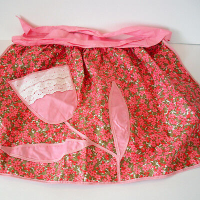 Retro Handmade Cotton Apron in a Pink & Green Floral Print with Tulip Pocket