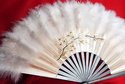 Vintage Hand Fan Silk Embroidery Ostrich Feathers