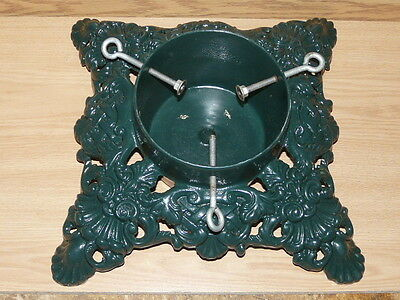 Vintage Cast Iron Decorative Painted Green Christmas Tree Stand 15''38 x 15'38