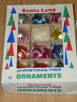 11 Vintage Santa Land Poland Hand Painted Glass Christmas Ornaments