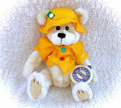 Vintage 1996 Harper Brass Button Bear NWT Yellow Rain Coat Jacket Hat Teddy NICE