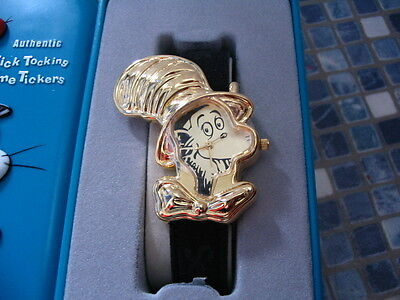 Dr Seuss Cat In The Hat Gold Shaped Watch Brand New Very Rare
