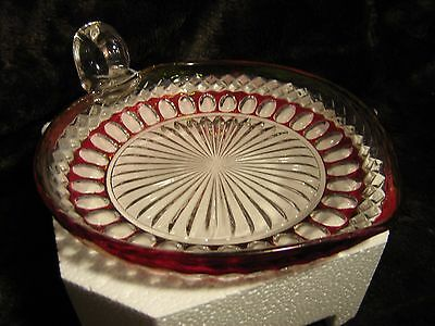 Glass candy or nut dish with handle