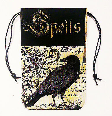 """Raven Tarot Cards Bag or Drawstring Pouch 5""""x7"""" - Raven Spells, Nevermore"""