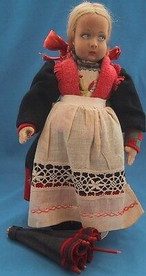 "Vintage / Antique  LENCI *DELLEBIO* 11"" Cloth Doll w/ PAPER LABEL & TAG!"