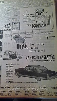 July 8, 1952 Newspaper Page #j5328- 1952 Kaiser- The World's Safest Front Seat