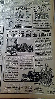 Oct 14, 1947 Newspaper Page #j5329- The Kaiser And The Frazer- Luxurious