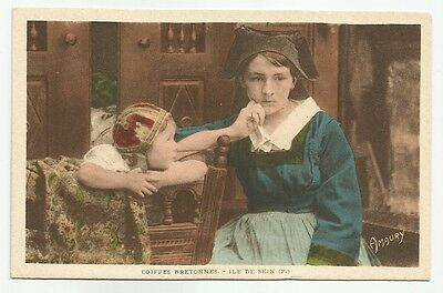 Costume Bretagne GIRLS BRETON CAPS Old Color Tint French Postcard Amaury France