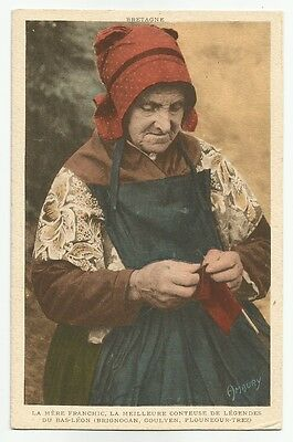 Bretagne THE OLD STORYTELLER Hand Colored Costume Ed. Hamonic Amaury CPA France
