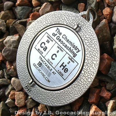 """Chemistry of Geocaching SPINNER - CaCHe (Trackable, 2.25"""", Ant. Silver Colour)"""