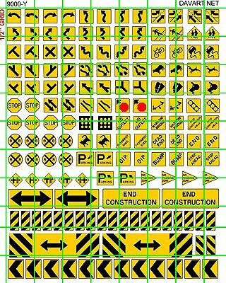 9000-Y Dave's Decals Ho Scale Sizes Modern Road Street Signs Assorted Mix