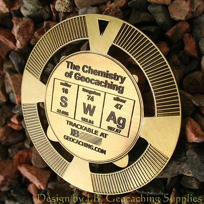 """SWAg - The Chemistry of Geocaching! (Ant. Gold Colour, 2.5"""" + Cutouts)"""