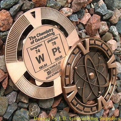 """WPt - The Chemistry of Geocaching! (Ant. Bronze Colour, 2.5"""" + Cutouts)"""